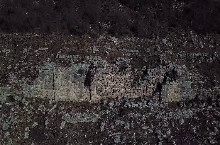 Walls of Persqop, location of an ancient town in the outskirts of Albania's capital Tirana.