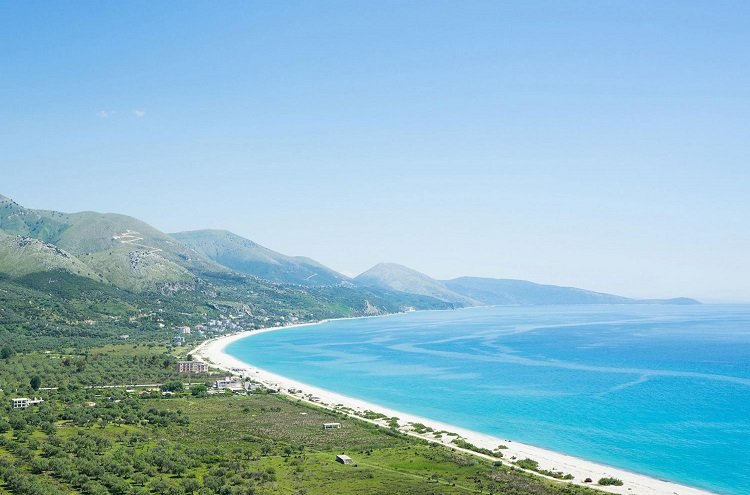 The long stretched beach of Borsh is one of the pearls of the Albanian Riviera.
