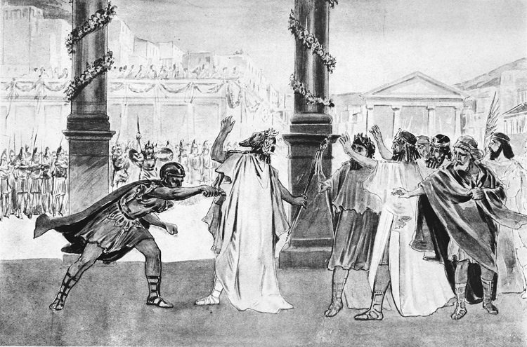 XIX-th century illustration. Cleopatra's father, Philip II, was assassinated by one of his bodyguards, on the occasion of Cleopatra's marriage with her uncle Alexander the Molossian. Some thought Olympias was behind the murder. It is believed that Philip was planning to announce to the Macedonians the opening of the campaign against the Persians.