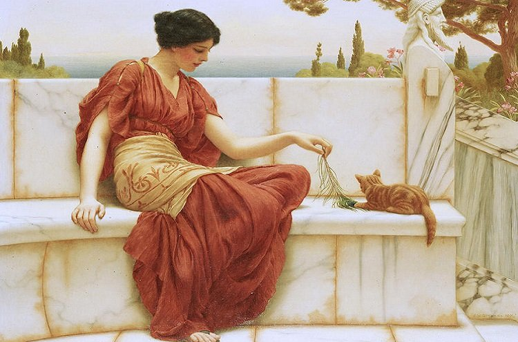 The Favourite, oil on canvas by John William Godward (1901). This Hellenic-Roman scene would not be fat from what Cleopatra of Macedon would have experienced in Sardis.