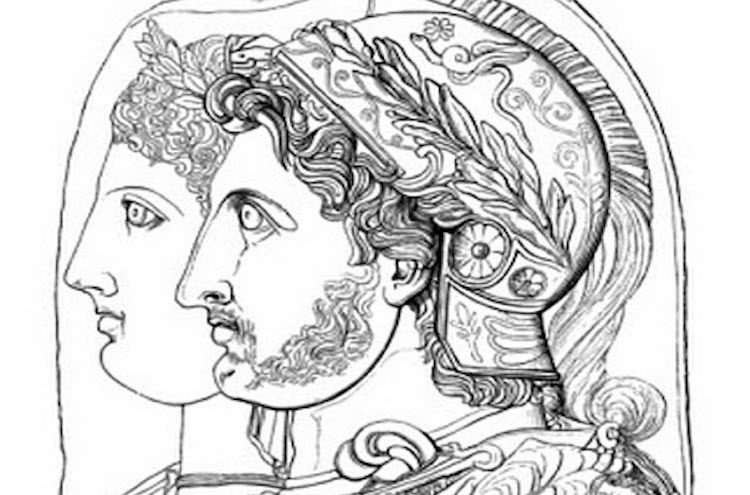 Overlapping portraits of the royal couple Adea/Eurydice and Philip (III) Arrhidaeus.