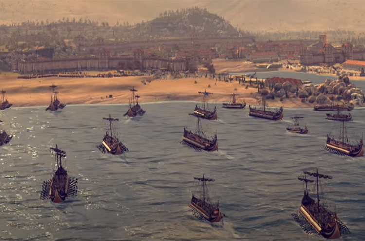 Graphic work depicted an assault of the Illyrian navy and marines on a coastal town. The Ardiaei used small native crafts referred to in ancient literature as lembi (singular: lembus) to carry out such assaults; credit: Creative Assembly, Rome Total War, Pirates and Raiders.