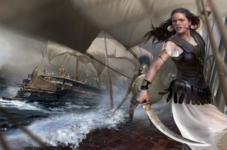 Contrary to popular belief, Teuta was not a warrior-queen. As far as we know, unlike this graphic characterization and rendition, she did not herself lead fleets nor physically engage in piracy; copyrights: Creative Assembly & Mariusz Kozik.