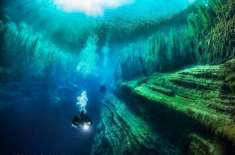 The Cave of Viroit is a completely submerged cave under Lake of Viroit near Gjirokastra in southern Albania. credit: Irena Stangierska (photography).