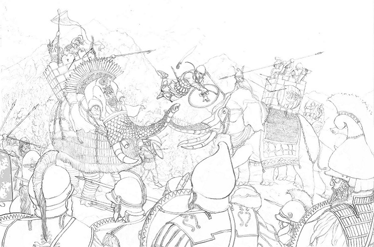 Illustration of a Hellenistic era conflict in current Afghanistan; author: Zachary Smith.