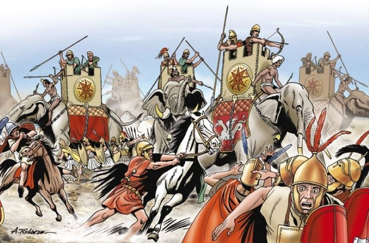 Illustration of Angelo Todaro showing the elephants of Pyrrhus crushing Roman cavalry at the Battle of Heraclea.