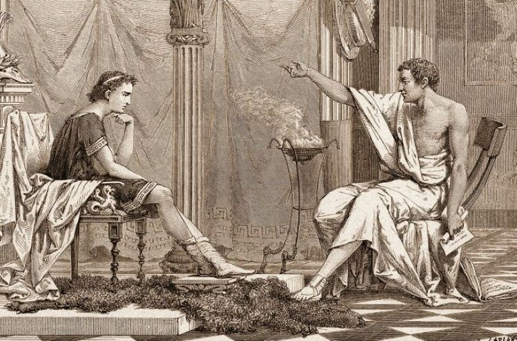 Illustration of Aristotle teaching Alexander; the situation after Philip II's murder required a cautious political approach by the new king.