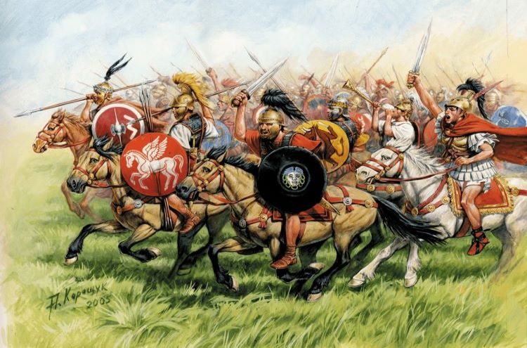 Depiction of the cavalry fighting for the Romans; they were largely composed of allied cavalrymen as early Romans themselves preferred hand to hand combat instead.
