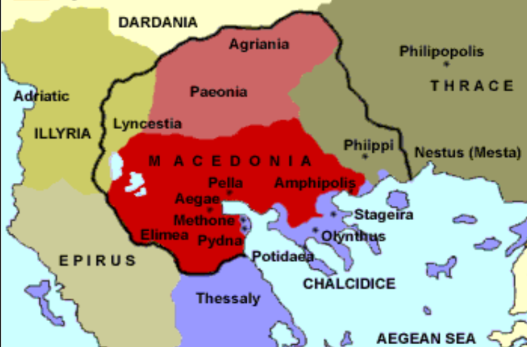 "Map showing the domain of Bardylis noted as ""Illyria"" and its neighbor-states, Macedon, Dardania, Paeonia, and Epirus."