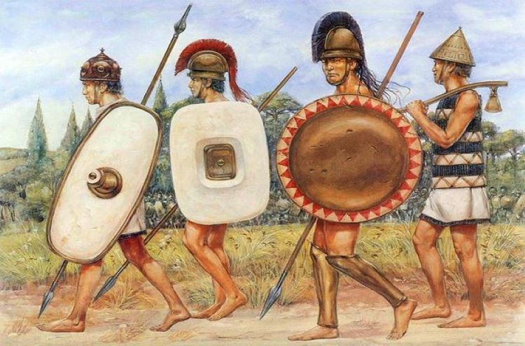 Depiction of light-armed Illyrian warriors of the Classical Antiquity.