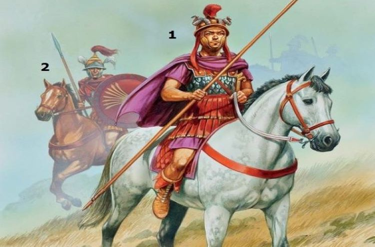 "Illustration of a Macedonian Antigonid royal guard; (I) Philip V (II) Horseman, ""Sacred Squadron""."