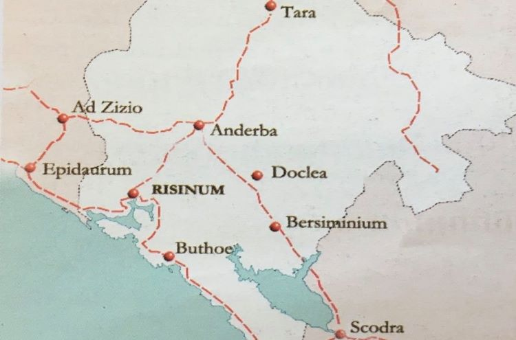 Map of the main roads crossing Rhizon/Risinum. Credit: A .Baçe.