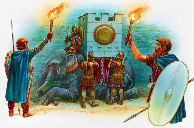 Depiction of an Indian war elephant being prepared for battle by the Epirotes.