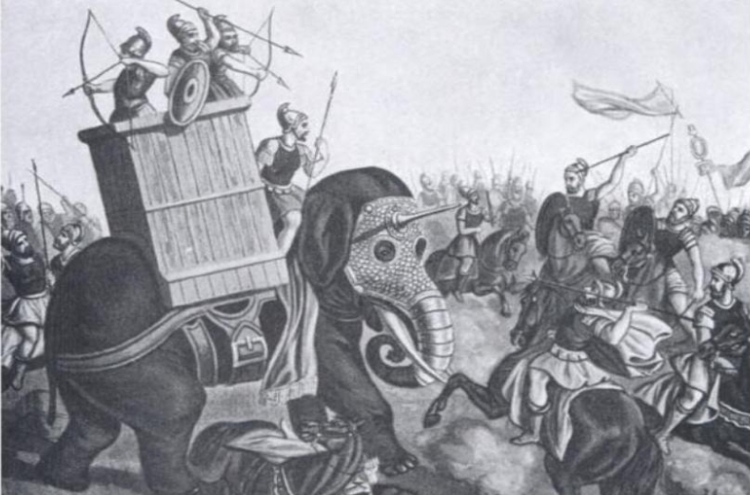 Depiction attributed to T.H. McAllister showing a war elephant charging enemy cavalry.