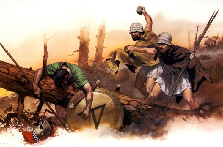 Illustration of Aetolian psiloi killing an Athenian hoplite.