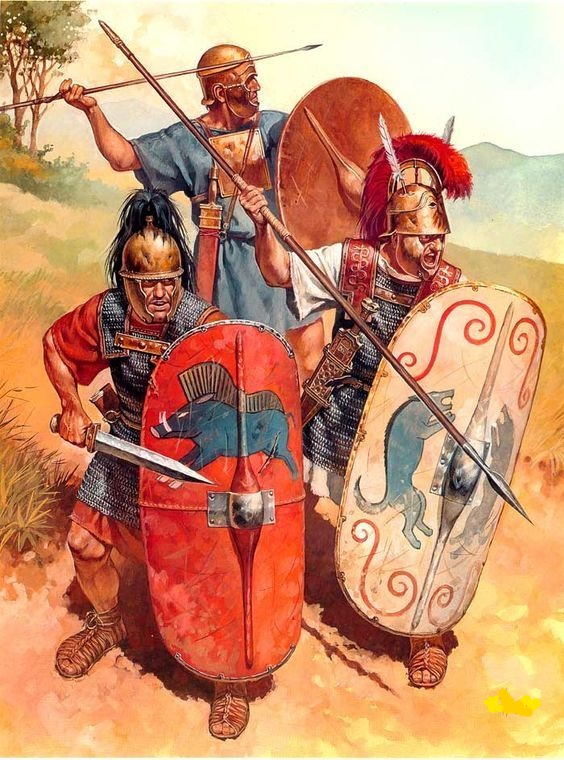 A Hastatus, Princeps, and a Triarius; three main types of soldiers of the Roman Republican Legion.