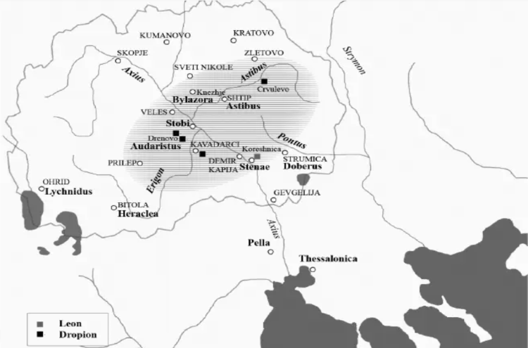 Map of territories where coins of the Paeonian kings Leon and Dropion have been found, corresponding to current central, south-central, North Macedonia.