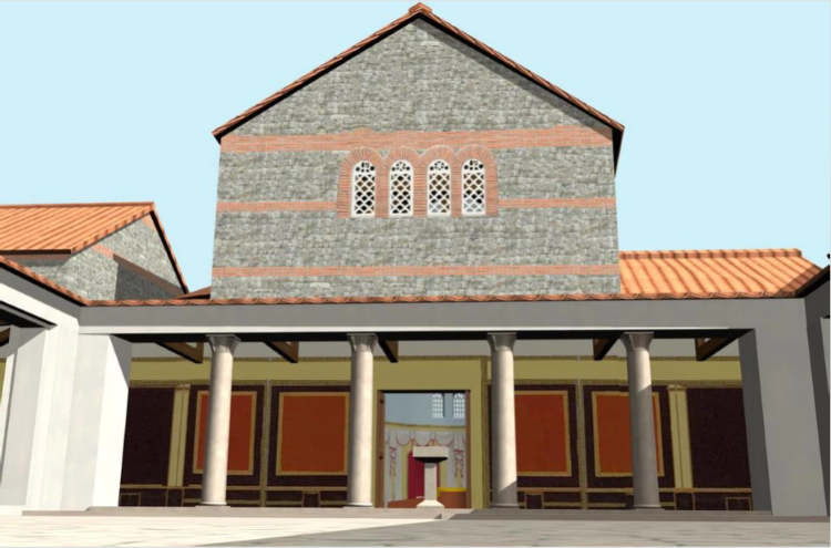 Reconstruction of the Perystil Section of the Triconch Palace at Buthrotum.