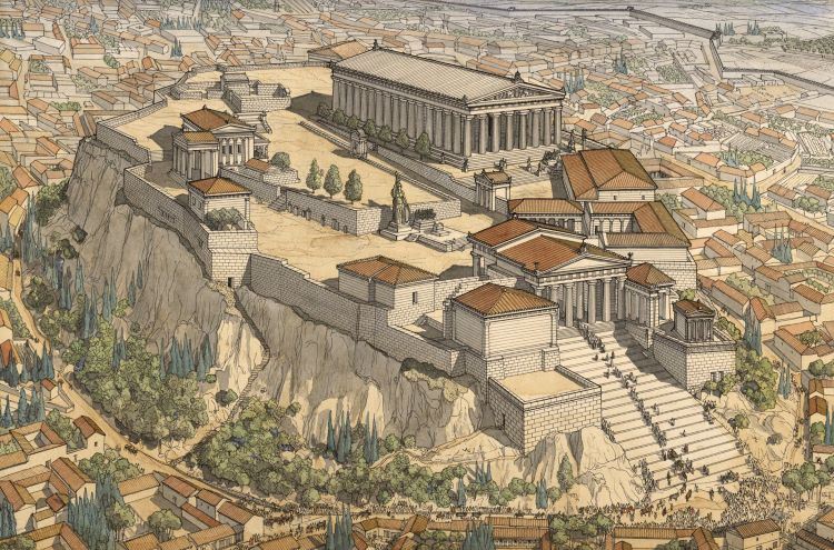 Graphic reconstruction of ancient Athens by Jean Claude Golvin.