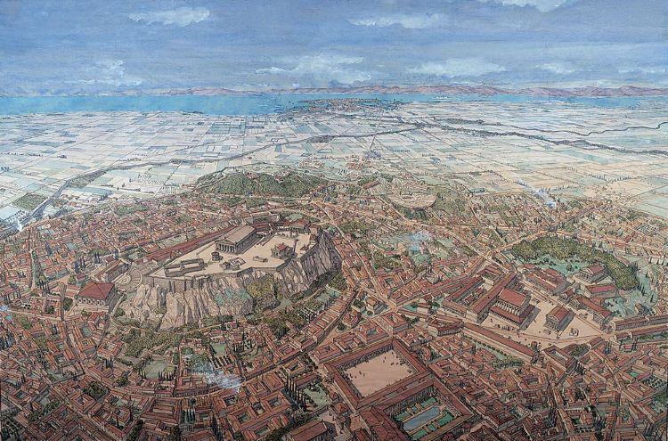 Illustration of ancient Athens with Piraeus at the horizon; credit: Jean Claude Golvin.