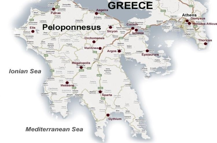 Map of the Peloponnesus with its main ancient cities.