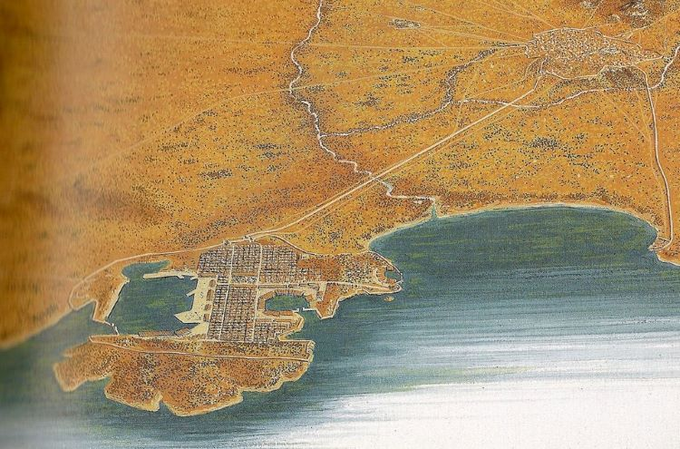 Illustration of the all-important port of Piraeus and its connection with Athens.