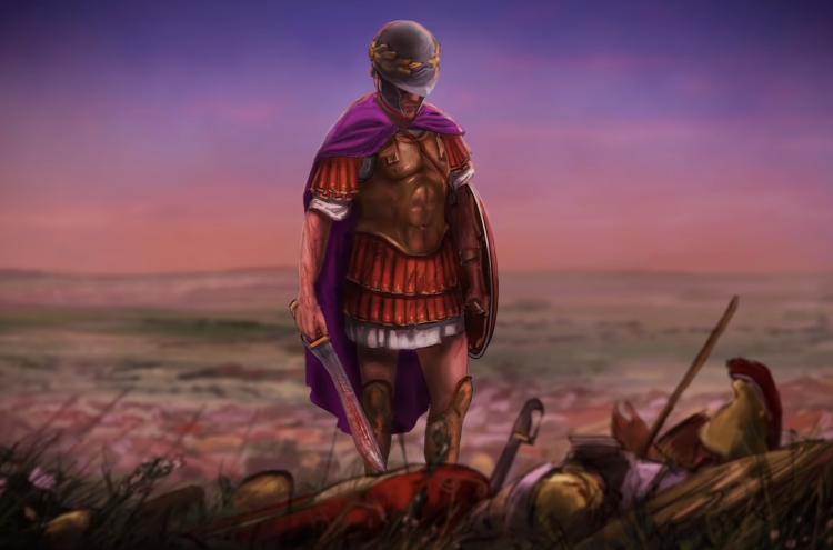 Illustration of Pyrrhus of Epirus after the Battle of Asculum.