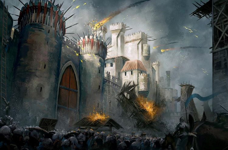 Illustration of a siege with wooden towers.