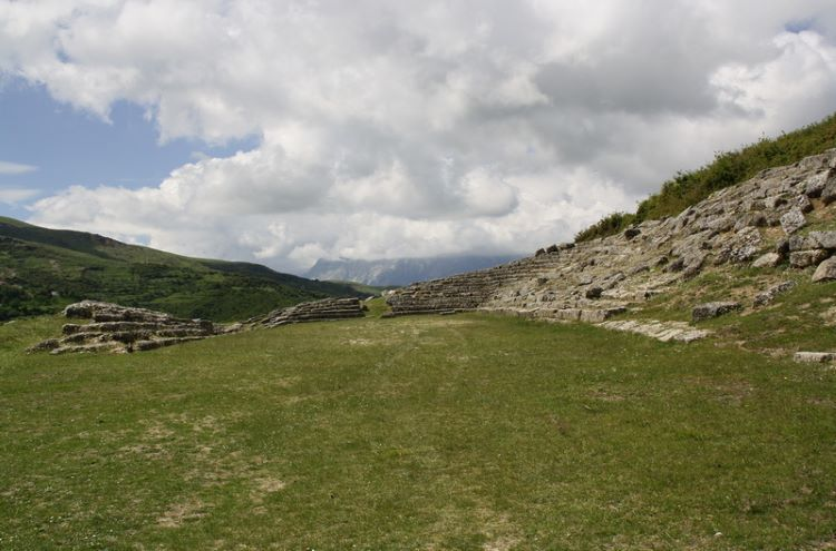 The ruins of the ancient stadium of Amantia.