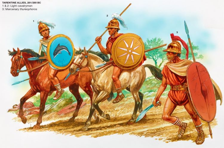 Illustration of the Tarentine soldiers enrolled in Pyrrhus army; I) Cavalrymen II) Tarentine cavalrymen III) Mercenary thureophoros.