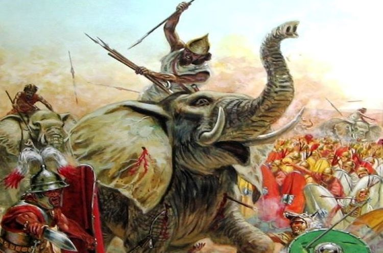 Illustration of war elephants and their mahouts fighting; a common scene in the Hellenistic world.