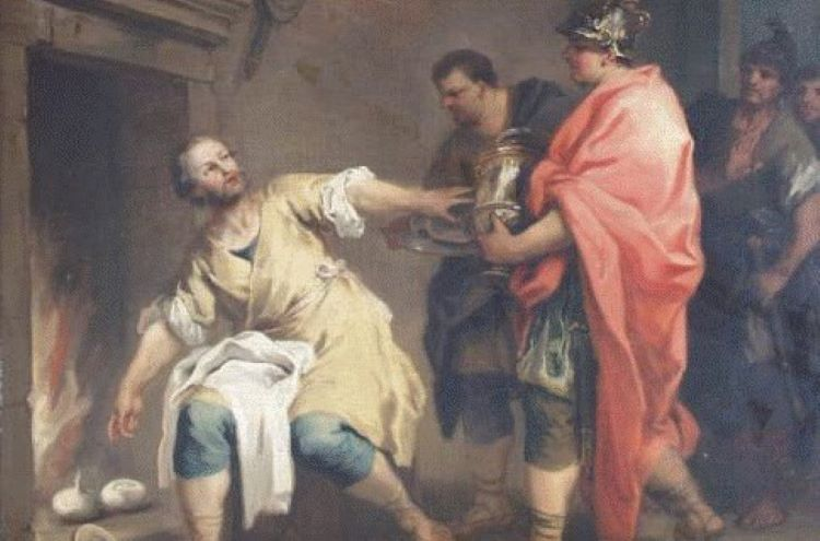 "Curius Dentatus (""the Toothed""), the consul in charge of the Roman army that faced Pyrrhus at the Battle of Beneventum had a folkloric reputation as an uncorrupted man. Here depicted refusing gifts from the Samnites and sticking to his simple life of roasting turnips. Depiction by Jacopo Amigoni."