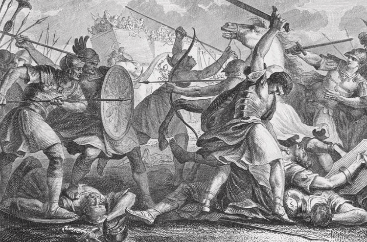 Pyrrhus, king of Epirus, invading Italy, defeated by Dentatus at Beneventum. Engraving, 1853.