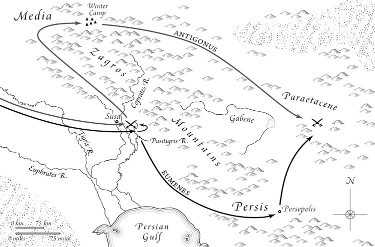 "Movement of the armies of Eumenes of Cardia and Antigonus I ""The One-Eyed"" before and after the battle of the Coprates River and leading into the Battle of Paraitakene."