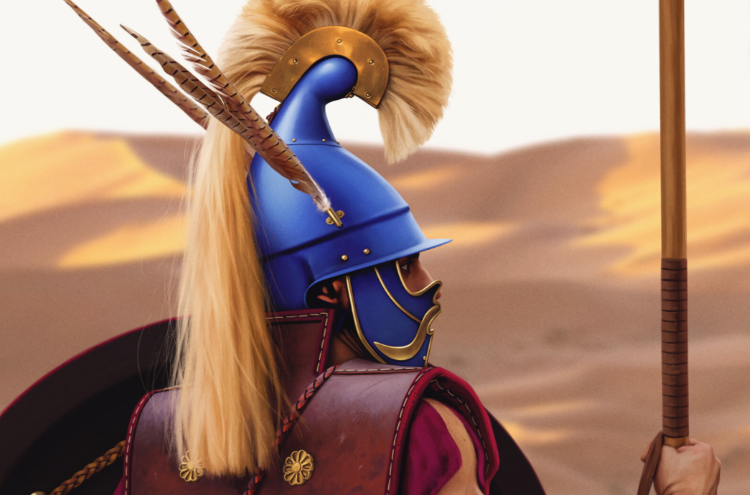 "A Hypaspist (""Shield Bearer"") on guard in a desert - Illustration by Joan Francesc Oliveras Pallerols."