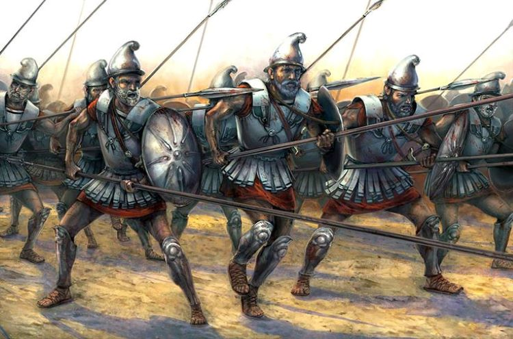 "The Argyraspides (""Silver Shields"") in battle formation; they were an elite unit of aged pike-men that served under Eumenes of Cardia at Paraitakene."