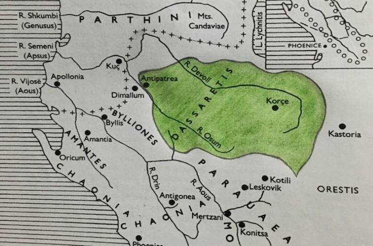 Map of the southern Illyria during the early Roman intervention in Illyria; Retrived from N. G. L. Hammond as published in The Illyrian Atintani, the Epirotic Atintanes and the Roman Protectorate. The Journal of Roman Studies. Vol. 79. Pp. 11-25 (Dassaretis highlighted in light green on top of the original map).