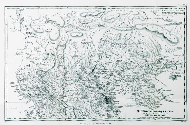 Macedonia including Paeonia with the adjacent parts of Illyria and Epirus - Map by William Martin Leake - 1824.