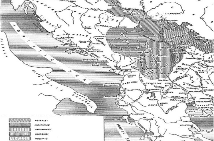 Map showing the position of the ancient tribes dwelling in central Balkans among them the Illyrian Autariatae and their relative position towards Paeonia.