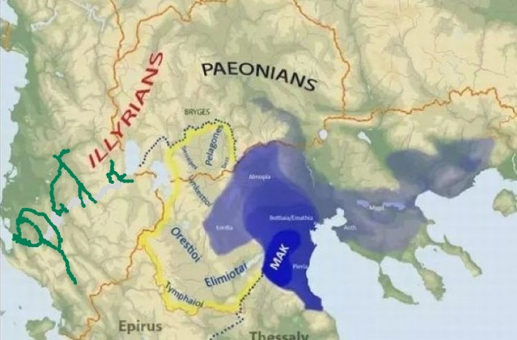 Map showing ancient states in south-west Balkans among them the kingdom of Paeonia during Audoleon's reign.