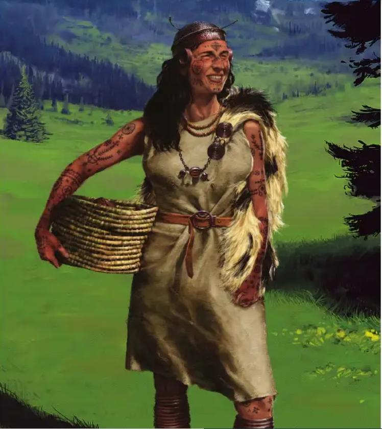 Japodian woman - Illustrated by S. Bogojević Narath.